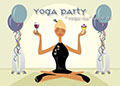 Image of a woman in a yoga pose having a party with wine and balloons.